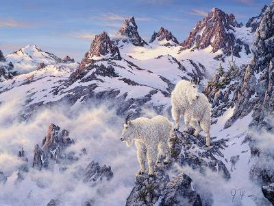 Among the Clouds - Mtn. Goat-Jeff Tift-Giclee Print