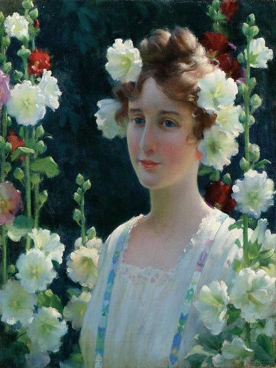 Among the Hollyhocks, 1904-Charles Courtney Curran-Giclee Print
