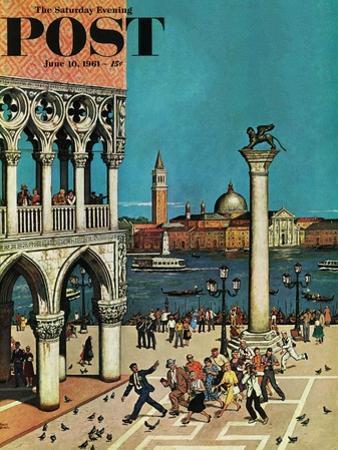 """American Tourists in Venice,"" Saturday Evening Post Cover, June 10, 1961"
