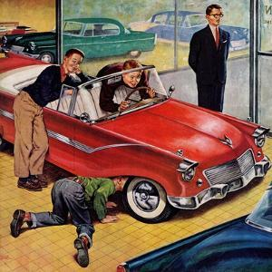 """""""Automobile Showroom"""", December 8, 1956 by Amos Sewell"""