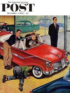 """Automobile Showroom"" Saturday Evening Post Cover, December 8, 1956 by Amos Sewell"