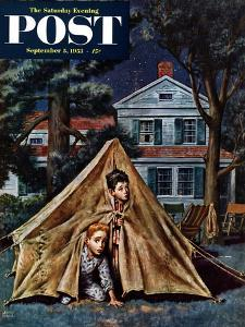 """Backyard Campers"" Saturday Evening Post Cover, September 5, 1953 by Amos Sewell"