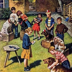 """Backyard Dog Show"", July 8, 1950 by Amos Sewell"