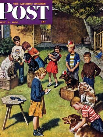 """""""Backyard Dog Show"""" Saturday Evening Post Cover, July 8, 1950"""