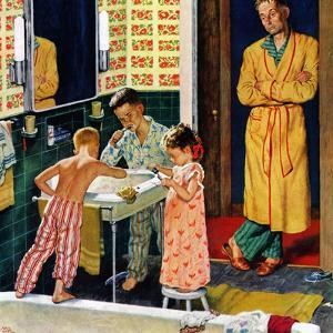"""Brushing Their Teeth"", January 29, 1955 by Amos Sewell"