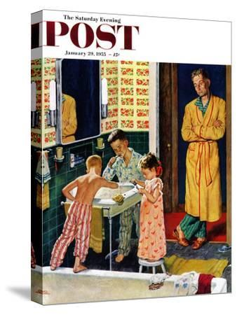 """""""Brushing Their Teeth"""" Saturday Evening Post Cover, January 29, 1955"""