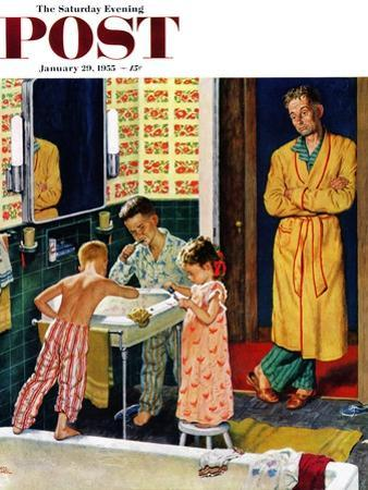 """""""Brushing Their Teeth"""" Saturday Evening Post Cover, January 29, 1955 by Amos Sewell"""
