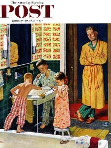 """Brushing Their Teeth"" Saturday Evening Post Cover, January 29, 1955 by Amos Sewell"
