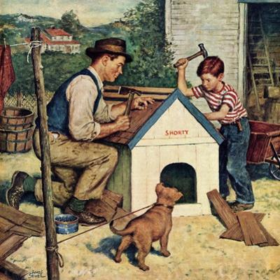 """""""Building the Doghouse"""", March 24, 1951 by Amos Sewell"""
