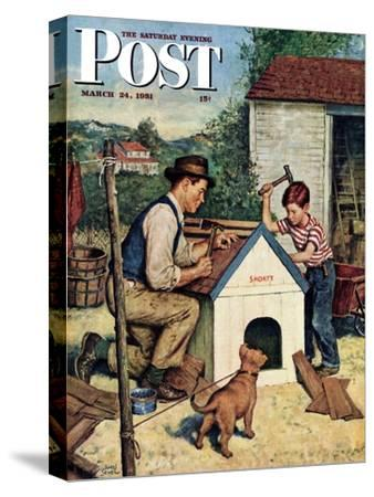 """""""Building the Doghouse"""" Saturday Evening Post Cover, March 24, 1951"""
