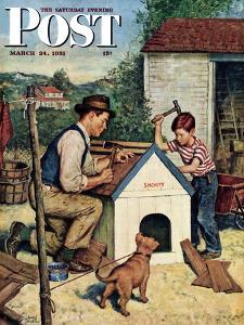 """Building the Doghouse"" Saturday Evening Post Cover, March 24, 1951 by Amos Sewell"