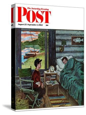"""""""Dad, the Fish are Biting,"""" Saturday Evening Post Cover, August 25, 1962"""