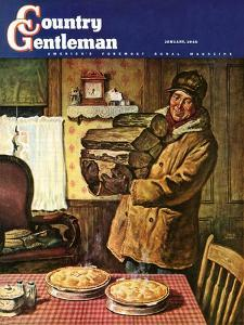 """Eyeing the Pies,"" Country Gentleman Cover, January 1, 1945 by Amos Sewell"