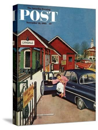 """""""Flat Tire at the Commuter Station,"""" Saturday Evening Post Cover, November 26, 1960"""