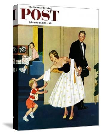 """Formal Hug"" Saturday Evening Post Cover, February 15, 1958"