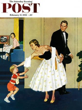 """""""Formal Hug"""" Saturday Evening Post Cover, February 15, 1958 by Amos Sewell"""