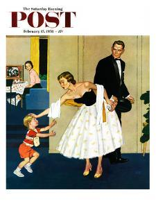 """Formal Hug"" Saturday Evening Post Cover, February 15, 1958 by Amos Sewell"