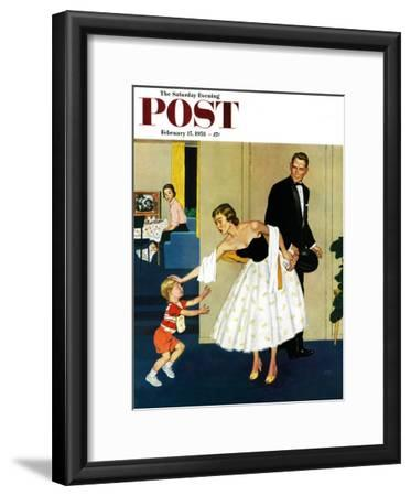 """Formal Hug"" Saturday Evening Post Cover, February 15, 1958"