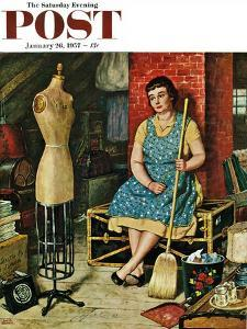 """""""Former Figure"""" Saturday Evening Post Cover, January 26, 1957 by Amos Sewell"""
