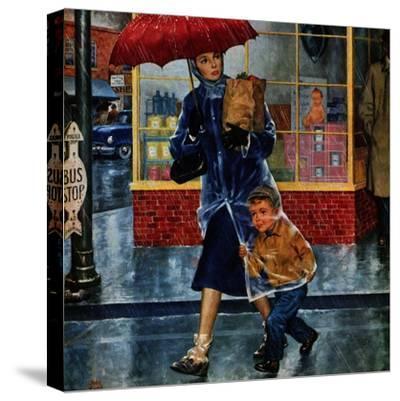 """Leaving Grocery in Rain"", April 24, 1954"