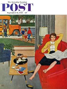 """Morning Coffee Break"" Saturday Evening Post Cover, September 12, 1959 by Amos Sewell"