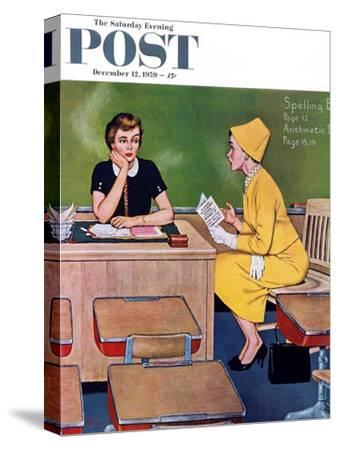 """Parent - Teacher Conference"" Saturday Evening Post Cover, December 12, 1959"