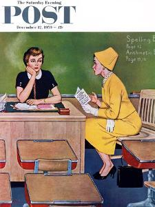 """Parent - Teacher Conference"" Saturday Evening Post Cover, December 12, 1959 by Amos Sewell"