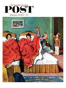 """""""Parents' Reveille"""" Saturday Evening Post Cover, February 20, 1954 by Amos Sewell"""