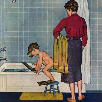 """Scuba in the Tub"", November 29, 1958 by Amos Sewell"