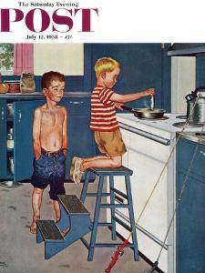 """Small Fry"" Saturday Evening Post Cover, July 12, 1958 by Amos Sewell"