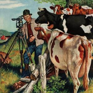"""""""Surveying the Cow Pasture"""", July 28, 1956 by Amos Sewell"""