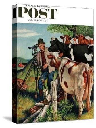 """""""Surveying the Cow Pasture"""" Saturday Evening Post Cover, July 28, 1956"""
