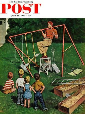 """""""Swing-set"""" Saturday Evening Post Cover, June 16, 1956 by Amos Sewell"""