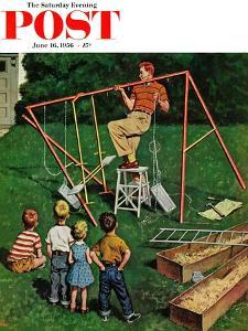 """Swing-set"" Saturday Evening Post Cover, June 16, 1956 by Amos Sewell"