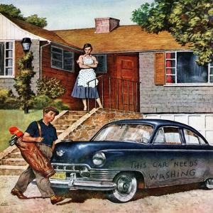 """This Car Needs Washing"", October 3, 1953 by Amos Sewell"