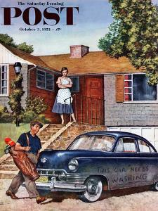 """This Car Needs Washing"" Saturday Evening Post Cover, October 3, 1953 by Amos Sewell"