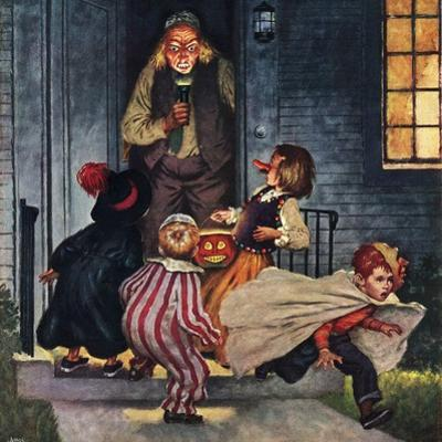 """""""Tricking Trick-Or-Treaters"""", November 3, 1951 by Amos Sewell"""
