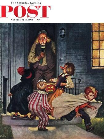 """""""Tricking Trick-Or-Treaters"""" Saturday Evening Post Cover, November 3, 1951"""