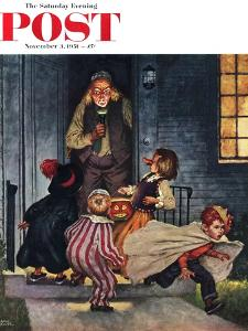 """Tricking Trick-Or-Treaters"" Saturday Evening Post Cover, November 3, 1951 by Amos Sewell"