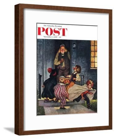 """Tricking Trick-Or-Treaters"" Saturday Evening Post Cover, November 3, 1951"