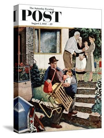 """""""Visiting the Grandparents"""" Saturday Evening Post Cover, August 3, 1957"""