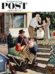 """Visiting the Grandparents"" Saturday Evening Post Cover, August 3, 1957 by Amos Sewell"