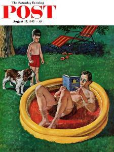 """""""Wading Pool"""" Saturday Evening Post Cover, August 27, 1955 by Amos Sewell"""