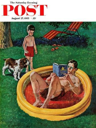"""""""Wading Pool"""" Saturday Evening Post Cover, August 27, 1955"""