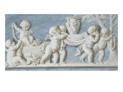 Amours et attributs vase porté sur un brancard-Piat Joseph Sauvage-Giclee Print