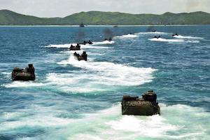Amphibious Assault Vehicles Approach Hat Yao Beach, Thailand