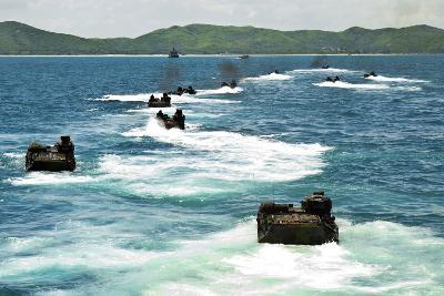 Amphibious Assault Vehicles Approach Hat Yao Beach, Thailand--Photographic Print