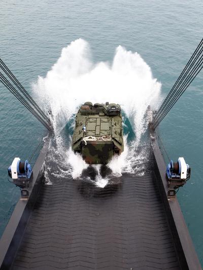 Amphibious Assault Vehicles Disembark from USNS 1st LT Jack Lummus-Stocktrek Images-Photographic Print