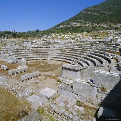 Amphitheatre at Sanctuary of Zeus, Mavromati Ithomi, Peloponese, Greece, Europe-Tony Gervis-Photographic Print