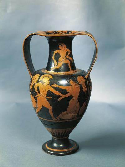 Amphora Depicting Menelaus and Helen and a Nereid on the Neck by Pamphaios, Potter--Giclee Print